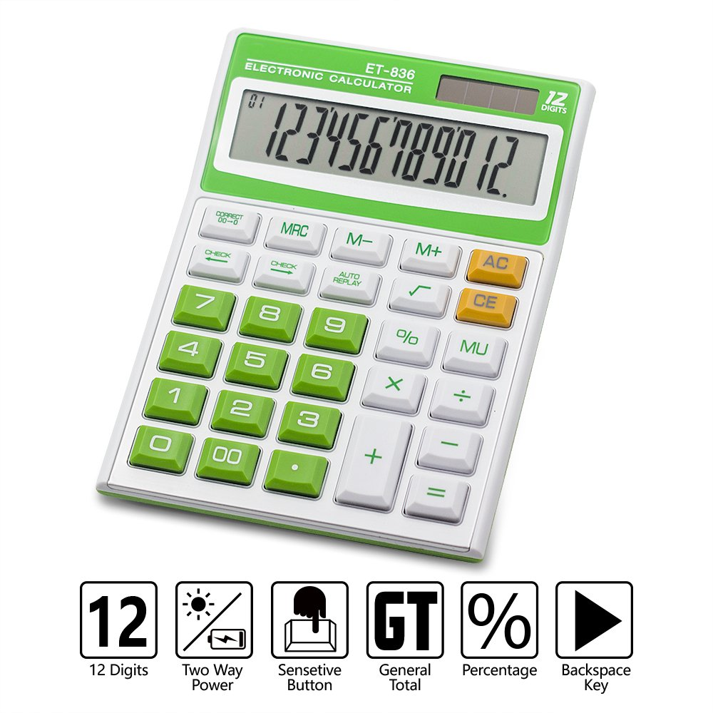 Ebristar Desktop Calculator, Standard Function Electronic Calculator, Solar Battery Dual Power Office Calculator with 12-Digit Large LCD Display and Large Buttons - Green
