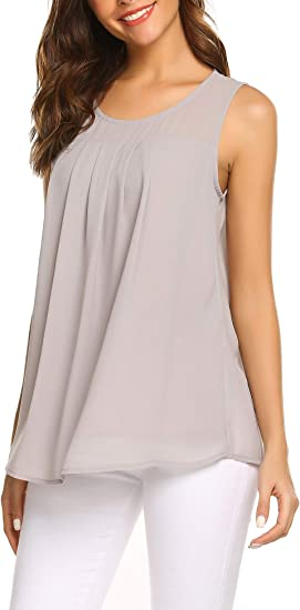 Fashion Women Sleeveless Pleated Ruffle Double Layer Chiffon Blouse T-shirt Tops