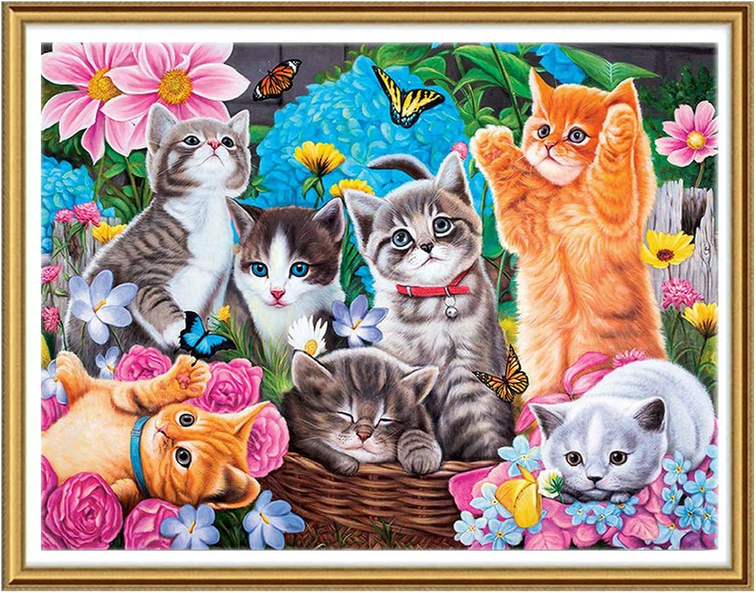 Yomiie 5D Diamond Painting by Number Kits Garden Cats Full Drill, DIY Paint with Diamonds Kitten Rhinestone Embroidery Pet Craft Arts Home Decor (12x16inch) a102