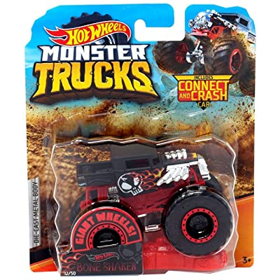 Hot Wheels Monster Trucks Bone Shaker Giant Wheels Die Cast Truck Includes Connect and Crash Car: Toys & Games