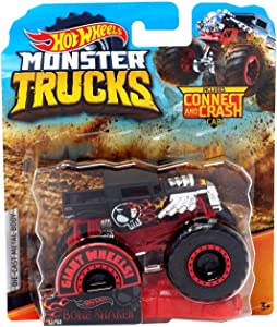 Hot Wheels Monster Trucks Bone Shaker Giant Wheels Die Cast Truck Includes Connect and Crash Car