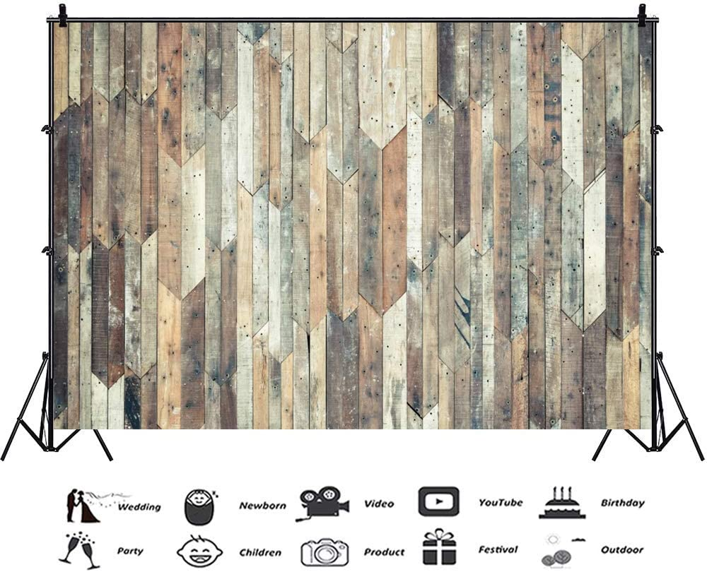 Old Wood Plank Wall Backdrop 10x6.5ft Wooden Texture Board Polyester Photography Background Splice Hardwood Vintage Rustic Faded Wood Panel Baby Kids Newborn Portrait Shoot Studio Decor