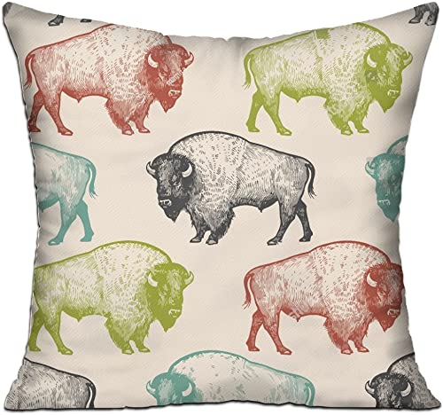 CY STORE Bison Square Cotton Linen Sofa Cushion Covers Decorative Home Zippered Custom Throw Pillow 18 X 18 Inch contain Pillow Core