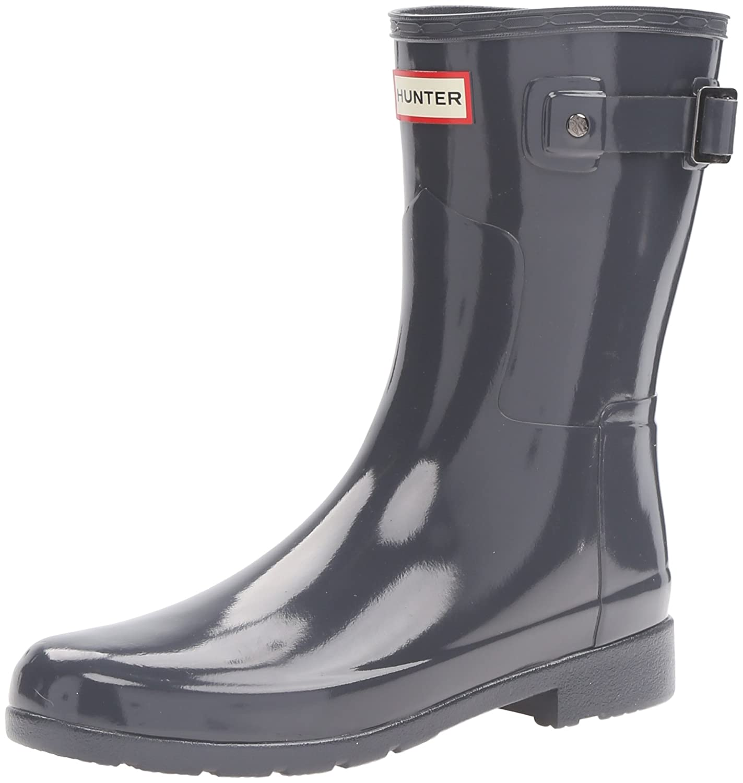 Hunters Boots Women's Original Refined Short Gloss Boots B01BD2ABG6 6 B(M) US|Dark Slate