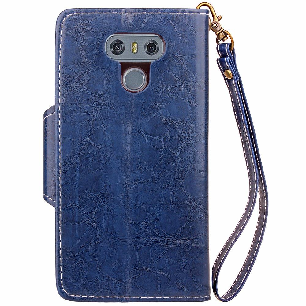 R/étro Luxe Coque en Cuir avec Souple Silicone Case Portefeuille Premium PU Leather Wallet Pouch Folio Flip Cover Housse /Étui pour LG G6 Or EINFFHO Coque LG G6
