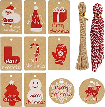 Anh/änger Anh/ängeschilder von EDITION COLIBRI // Weihnachtsanh/änger Geschenkkarten 25 Geschenkanh/änger Weihnachten 52 x 74 mm // 5 lustige Weihnachtsmann-Motive je 5 St Set 3 Anh/ängeetiketten