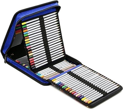ELLANM Estuche Portátil para Lápices con Cremallera Plegables De 120 Ranuras para Bolígrafos, Estuche Protector para Lápices con Lápices De Colores para Bolígrafos Y Estuche para Lápices,Blue: Amazon.es: Hogar