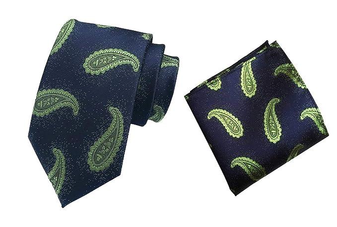 de6ae4d5bd1c Amazon.com: MENDENG Men Black Green Paisley Silk Necktie Ties Handkerchief  2 Pieces Tie Sets: Clothing