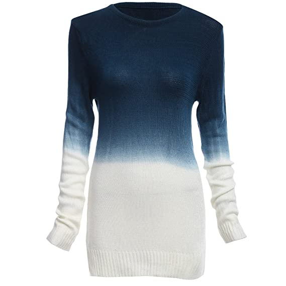 59829e4413 Hannea Chic Round Collar Long Sleeve Gradient Color Loose Sweater for Ladies   Amazon.in  Clothing   Accessories