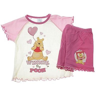 30d1a35e679c i-Smalls Girls Kids Winnie the Pooh Heart Cotton Short Pyjamas (Pink Yellow