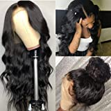 Pizazz 13x4 Lace Front Wigs Human hair with Baby Hair Pre Plucked Bleached Knot 150% Density Brazilian Body Wave Human Hair W