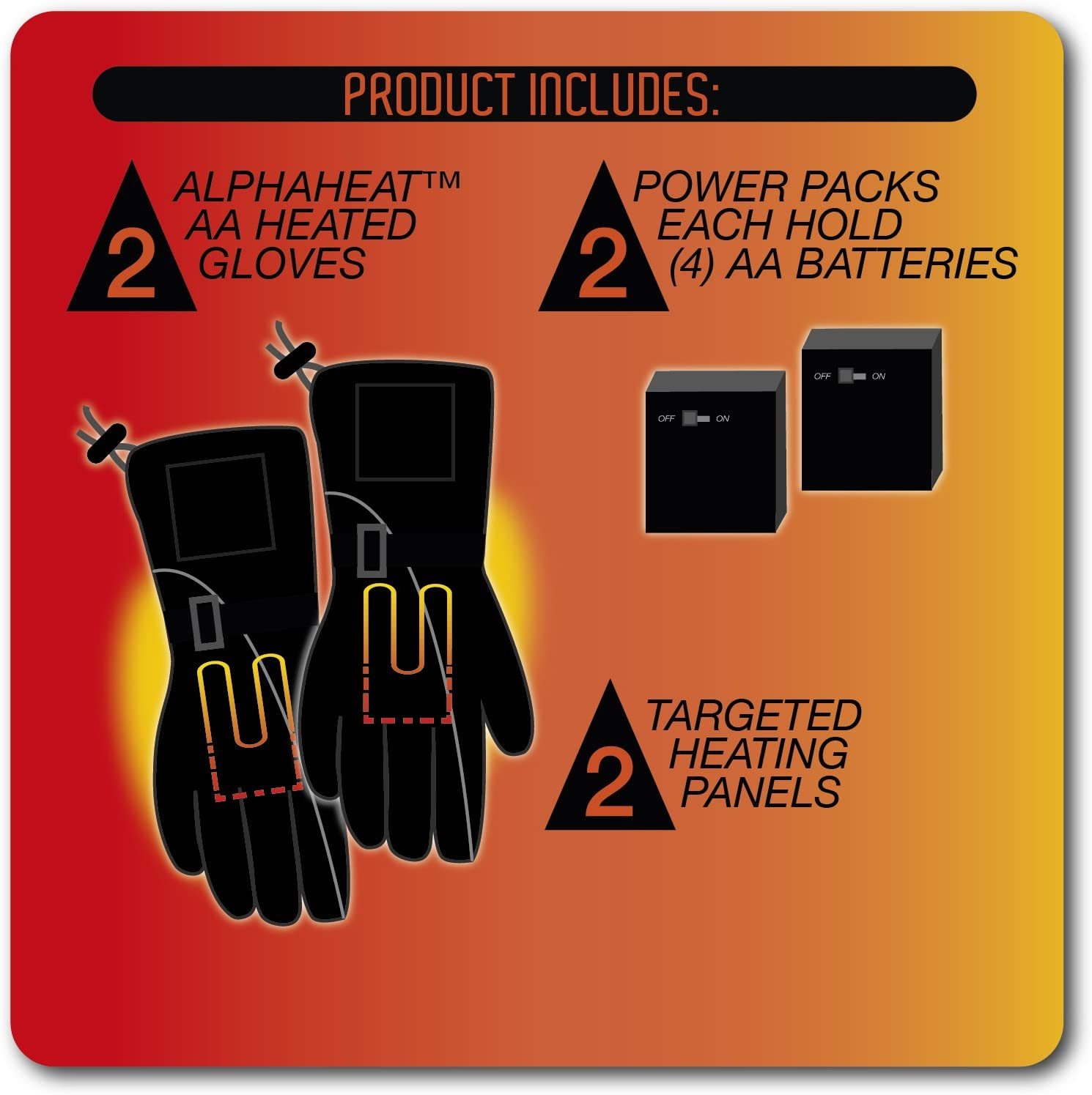 AlphaHeat AA Battery Heated Gloves one size fits most