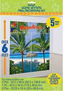"Amscan 670707 Palm Tree Party Scene Setter Decorating Kit 32.5"" x 59"" 1 ct"
