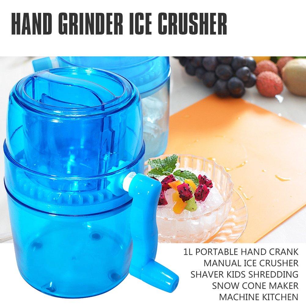 Cobeky 1L Portable Hand Crank Manual Ice Crusher Shaver Kids Shredding Snow Cone Maker Machine Kitchen