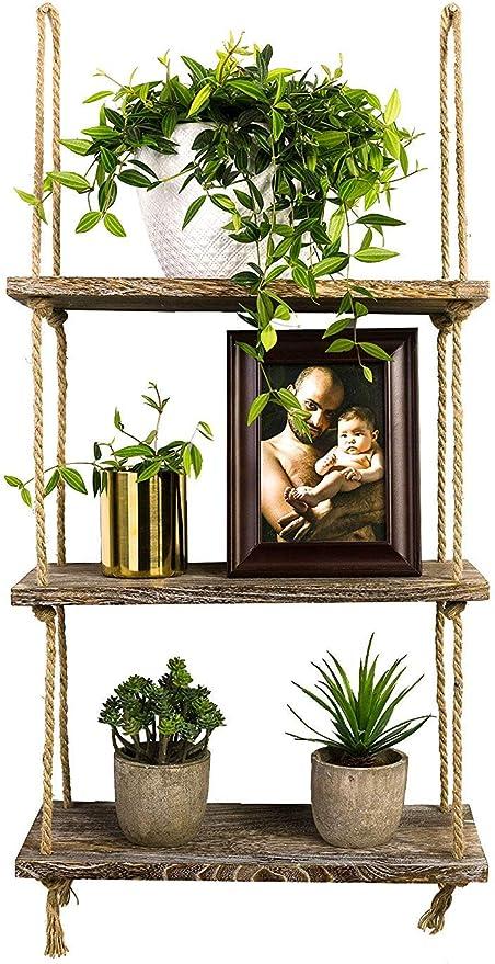 Wooden Hanging Shelf Floating Wood Wall Shelves Decorative Holder Plants Stand