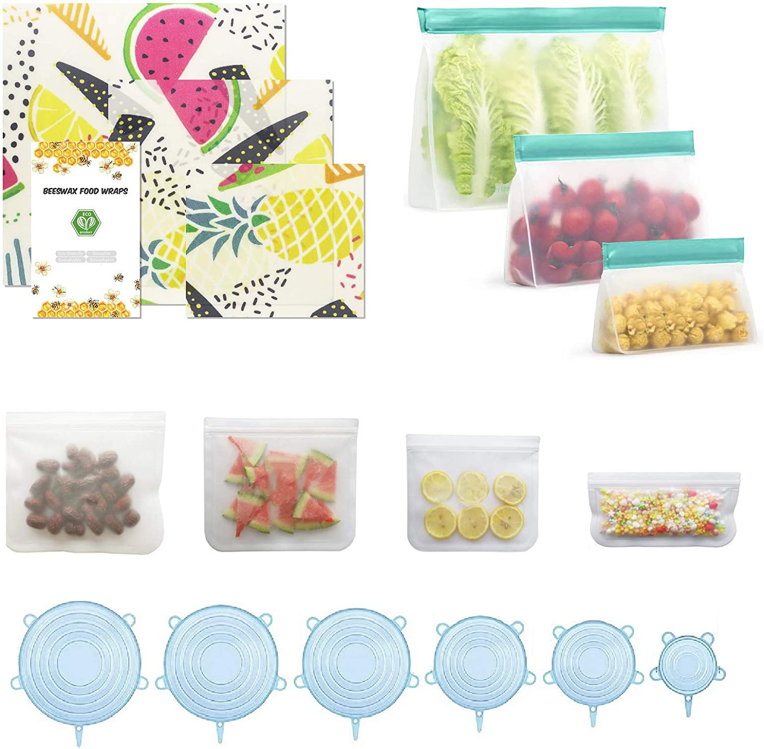 16 Pcs-Beeswax Wrap 3 Pcs & BPA FREE Reusable Food Wrap 7 Pcs & Silicone Stretch Lid 6 Pcs,Eco-Friendly Freezer Preservation Bags for Vegetable,Fruit,Snack,Lunch,Cereals