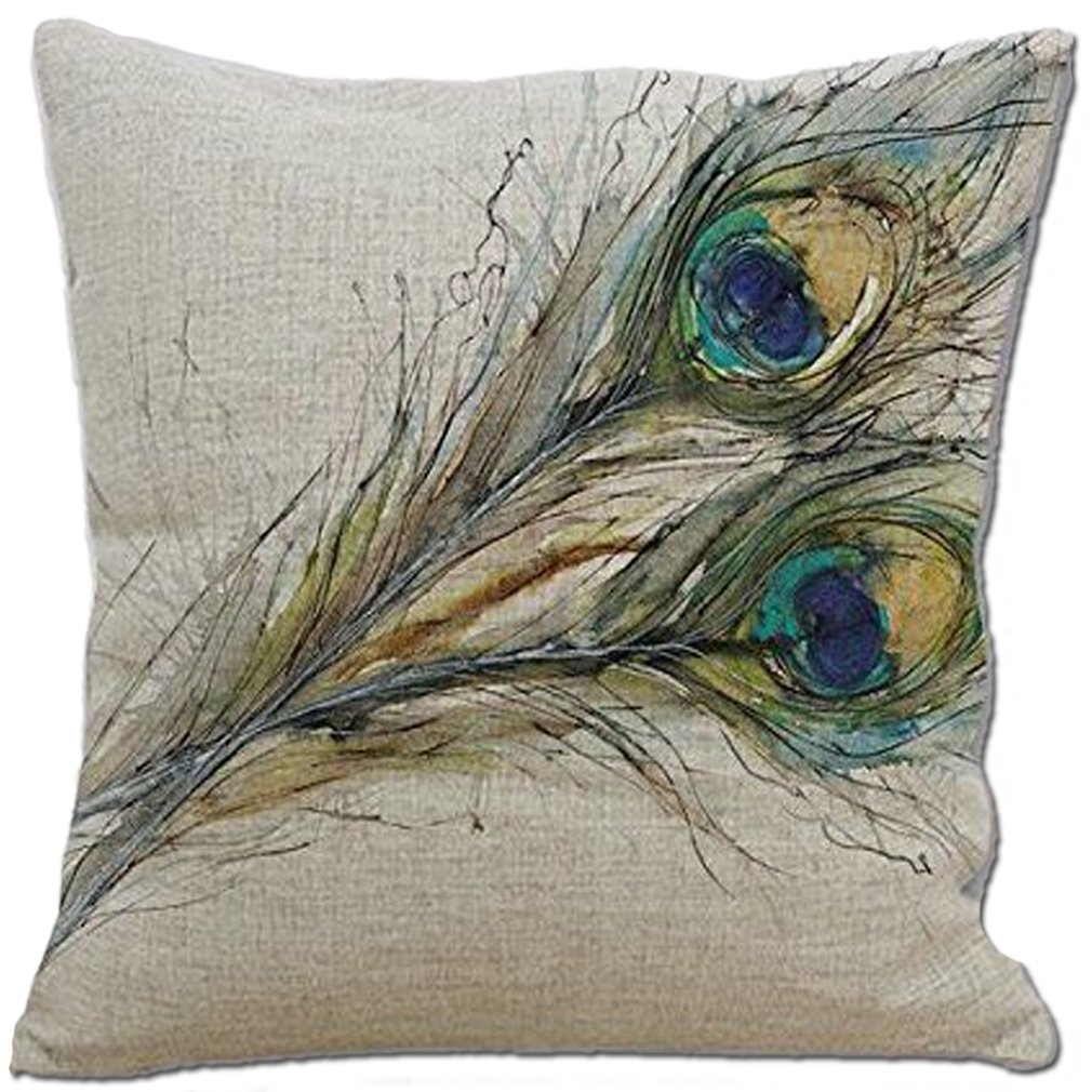 Peacock Feather Throw Pillow C...