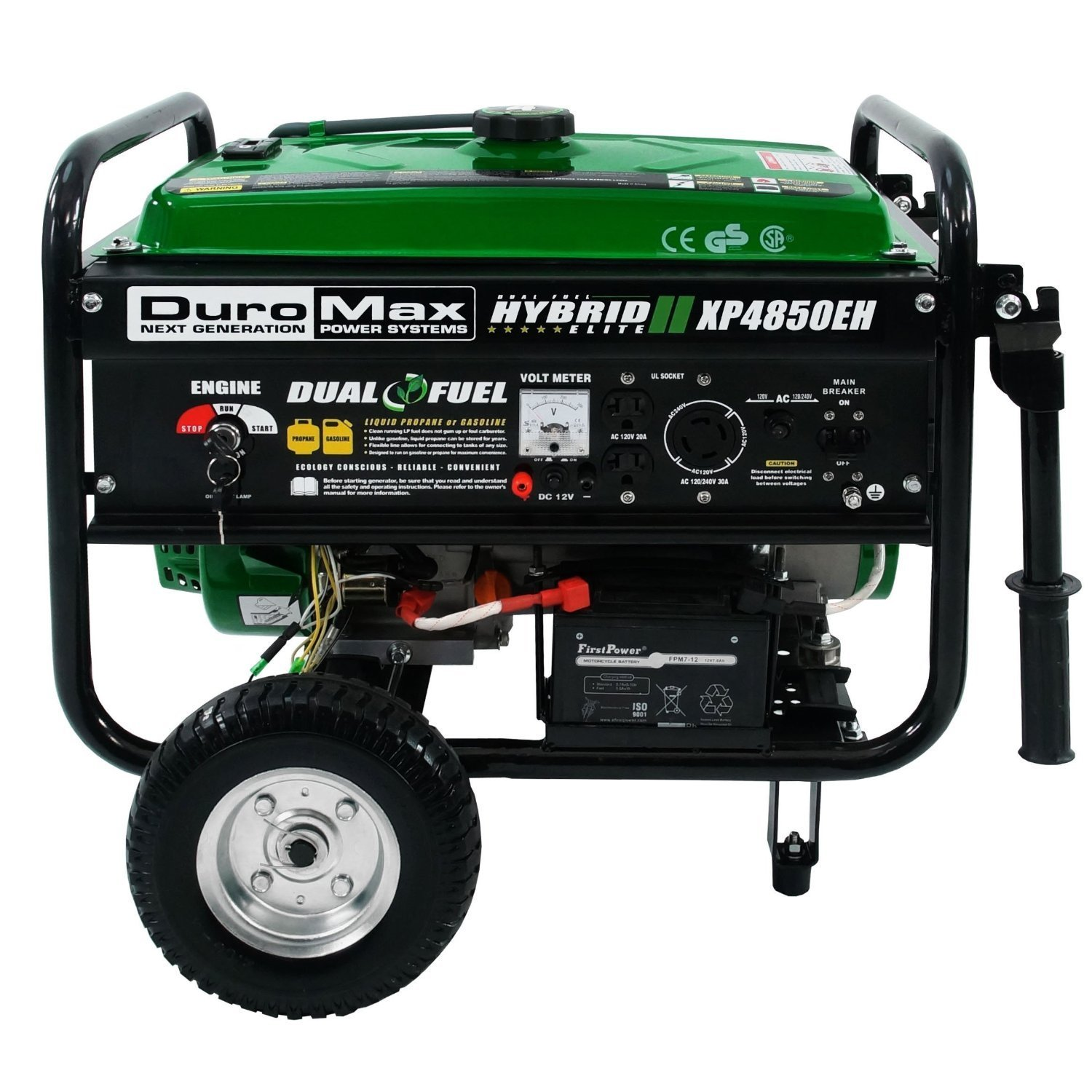 DuroMax XP4850EH Dual Fuel Portable Generator, Green