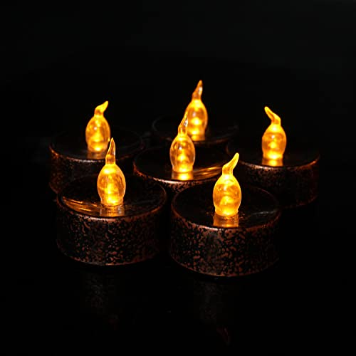 Flameless LED Tea Lights 12 PCS, Tea Light Black and Brown LED Candles for Halloween Christmas Thanksgiving Holiday Decoration, Amber Yellow Light Bulb