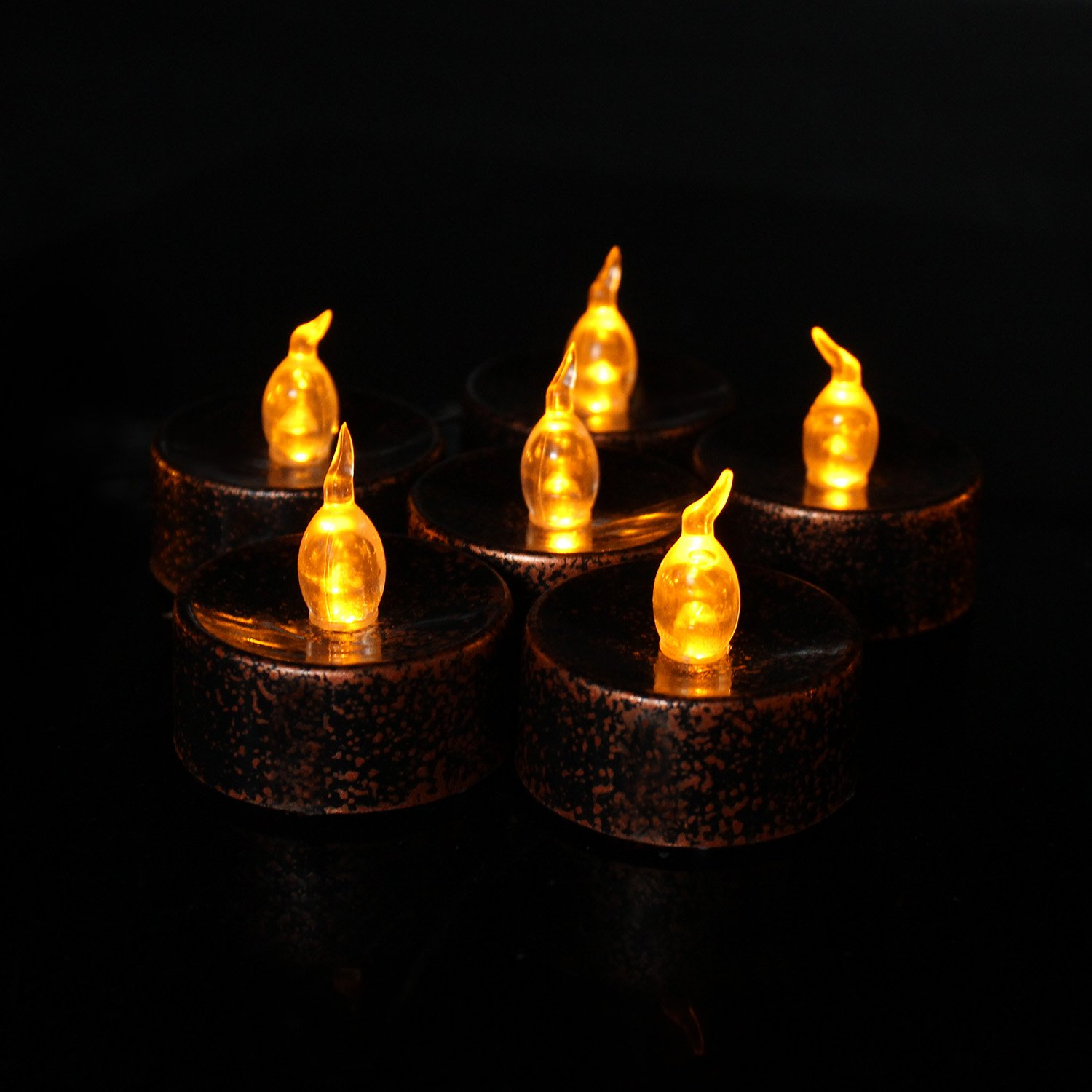 Halloween Flickering Candles, Led Battery Operated Black Fake Electric Small Plastic Flameless Dropless Outdoor Indoor Home Party Pumpkin Decorative Halloween Decoration Candle Supplies Ideas, 12PCS