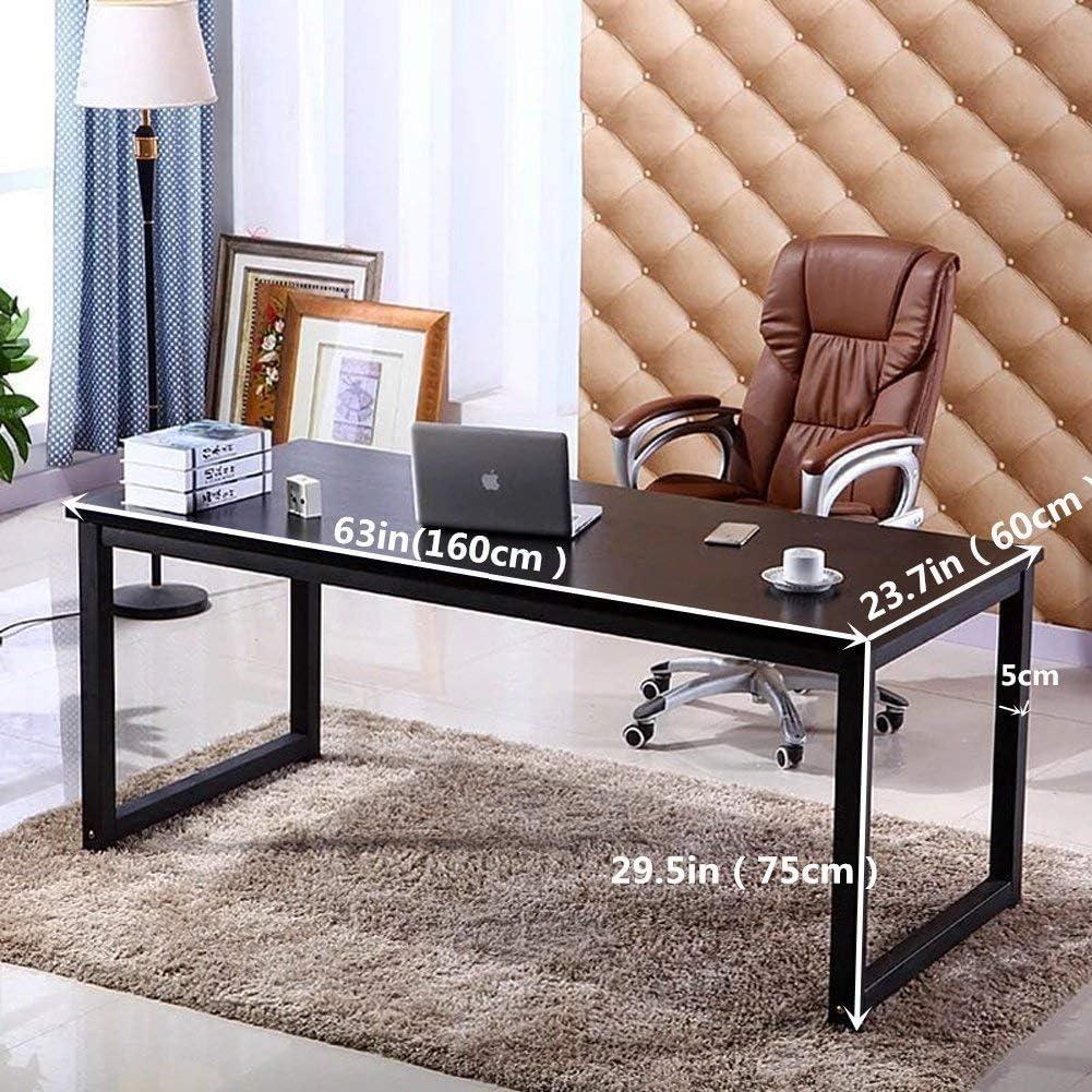 63in Writing Desks Large Study Computer Table Workstation,Teak Wooden Top+Black Metal Leg Home Office Desk