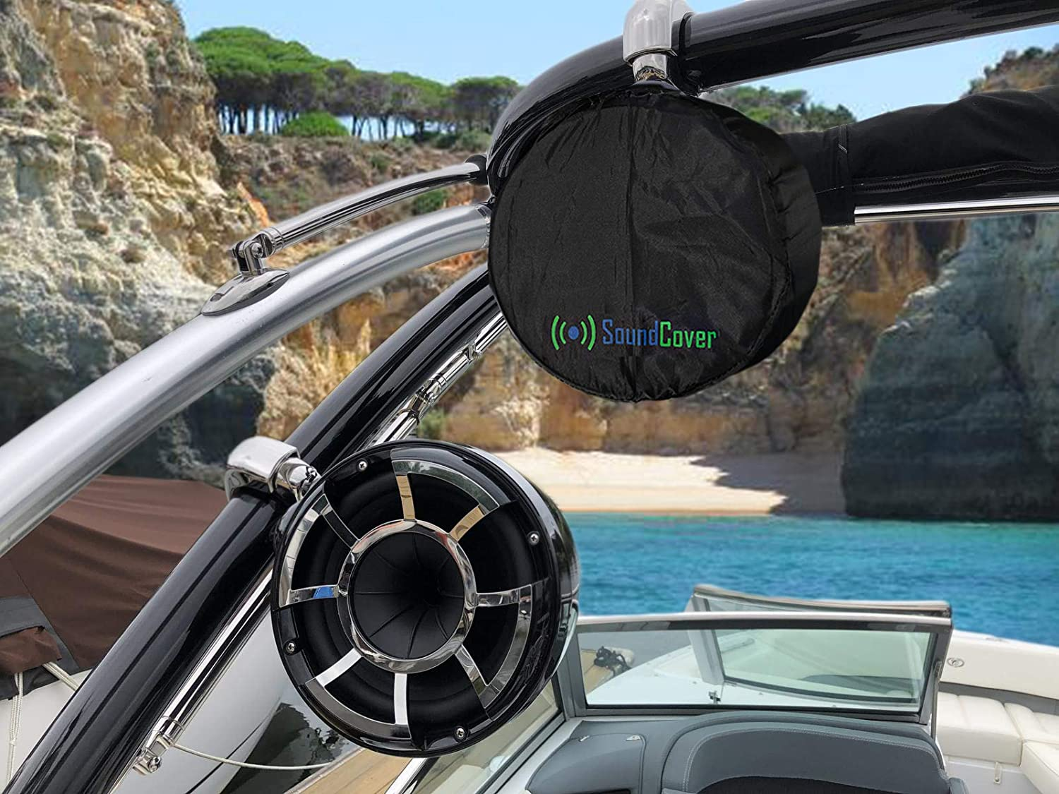 Two Speaker Covers 6.5 inch Round 6x9 Oval Marine Power Boat ATV Wakeboard Tower