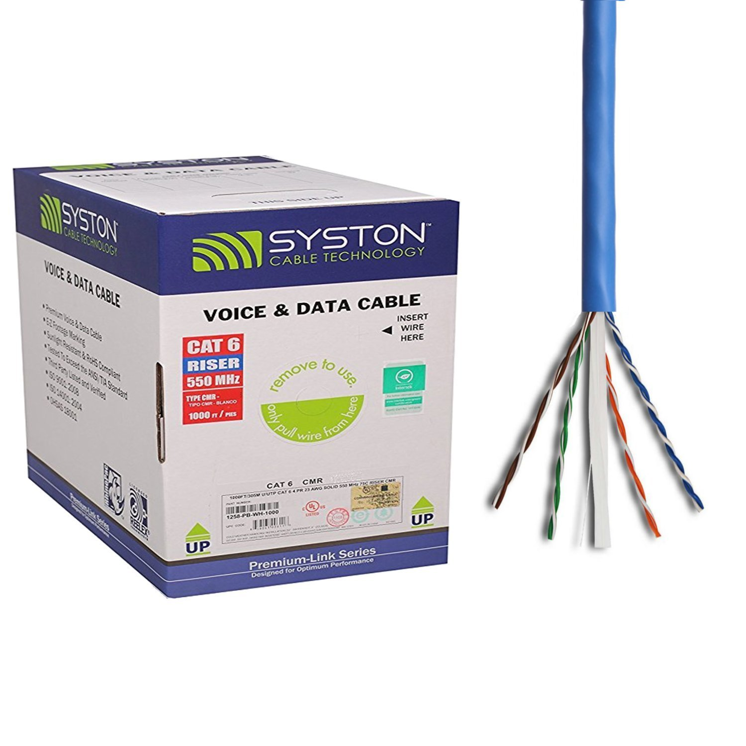 Cat6 Bulk Cable 500ft Pure Copper, Outdoor/Indoor Heat Resistant, Solid, 550Mhz, 23AWG, Riser Rated CMR, Blue by Syston Cable Technology