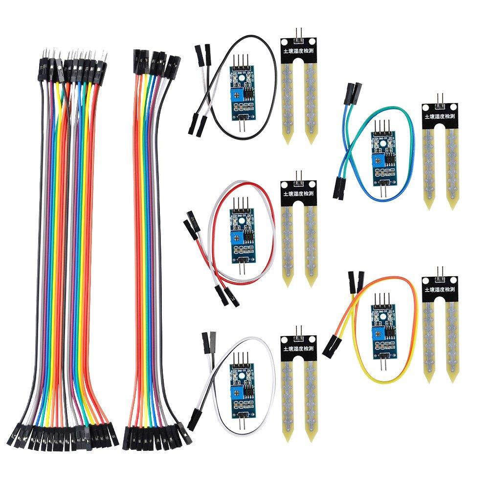 QLOUNI Bodenfeuchtesensor 5 Set Feuchtigkeitssensor Modul Kit ...