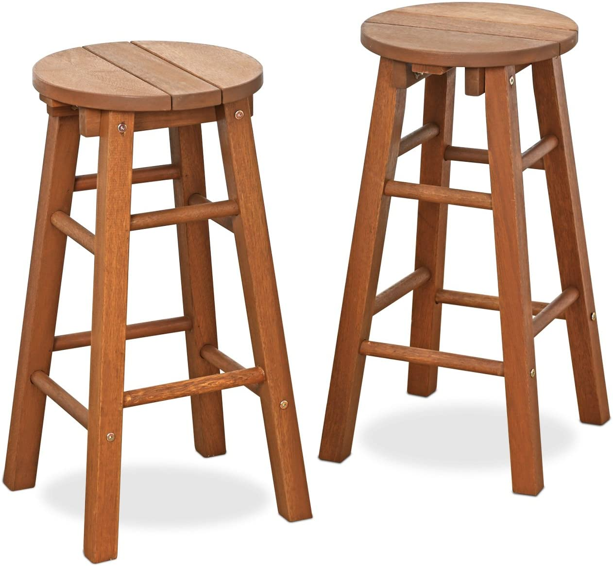 Furinno FG17629 Tioman Outdoor Hardwood Patio Furniture Promo Arch Bar Stool (Set of 2), Natural