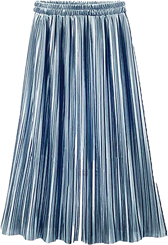 LD DRESS Simple Retro Women's High Waist Pleated A-Line Midi Skirt