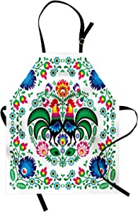 Ambesonne Folk Art Apron, Traditional Folkloric Polish Wzory Lowickie with Flowers Leaves and Roosters, Unisex Kitchen Bib with Adjustable Neck for Cooking Gardening, Adult Size, White Multi