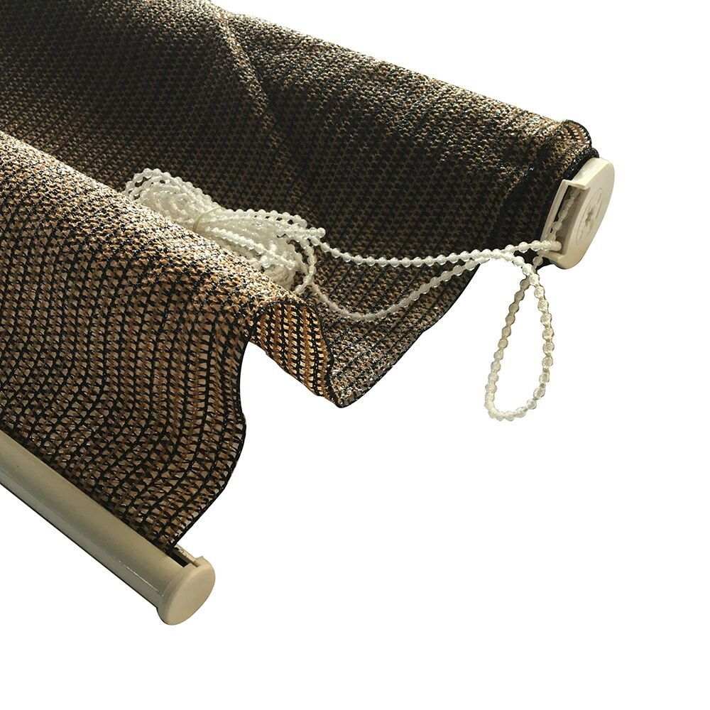 Shatex Outdoor Roller Shade Exterior Roller Chain Shade 8x6ft Coffee Wellco Industries Inc. ERS86C