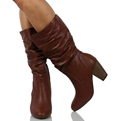 629bf948061 Amazon.com | City Classified Women's Faux Leather Mid Calf Stacked ...