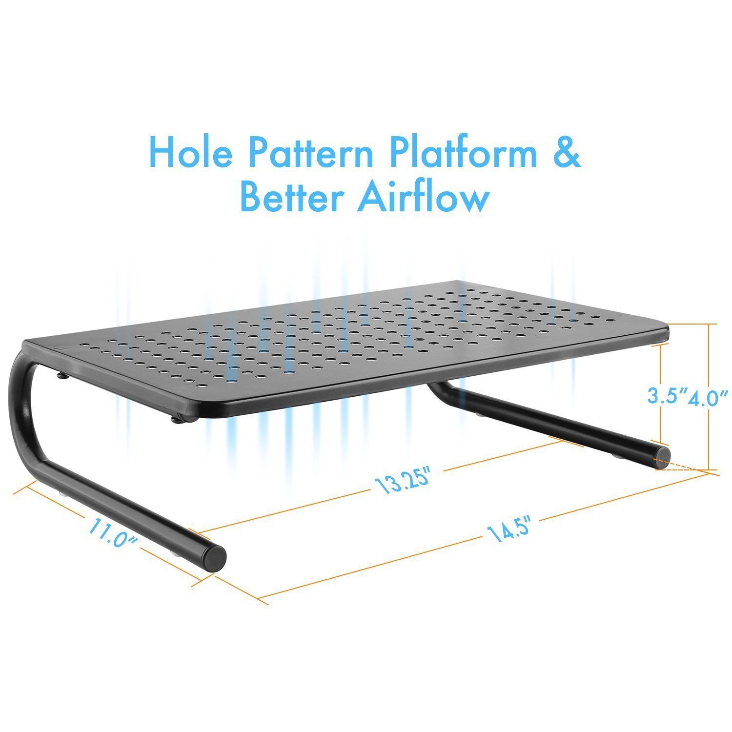 Monitor Stand Riser with Vented Metal for Computer, Laptop, Desk, iMac, Printer with 14.5 Platform 4 inch Height (Black, 2 Pack) by HUANUO (Image #2)