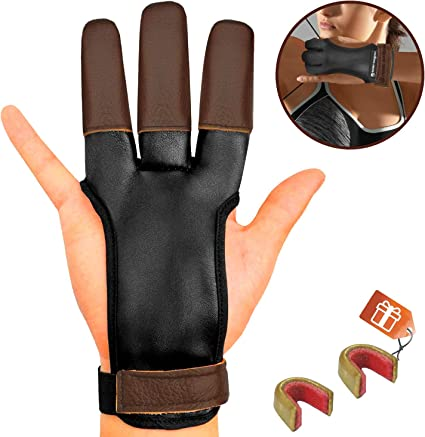 Leather 3 Finger Arrow Release String Gloves Archery Bow Protector Guard