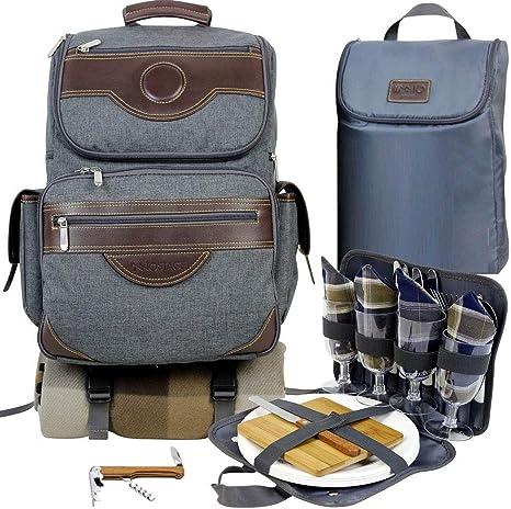 INNO STAGE innostage Aislado Picnic Mochila para 4, Mochila de Senderismo y Camping Set con Separados Cooler Tote Bag Carrier vajilla, móviles, Platos ...