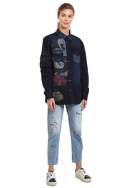 Desigual - Camisa Casual - para Hombre Azul M: Amazon.es: Ropa y accesorios