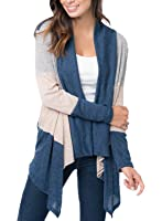 FARYSAYS Women's Color Block Long Sleeve Open Front Drape Knit Cardigan ( S-XXL )