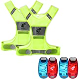 JQP Sports Running Vest and 4 LED Safety Light Sets (4-Pack and 3 Bonuses), The Perfect Waterproof Running Light and Reflective Vest Suitable for Jogging Cycling Biking Dog Walking Strobe Light
