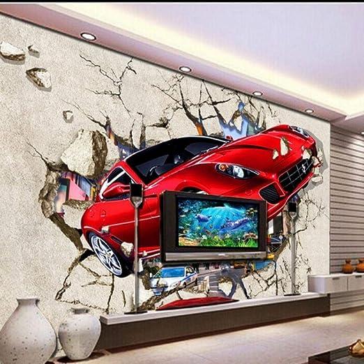 Papel Pintado 3D Coche Roto Pared Tv Fondo Pintura Decorativa Sala ...