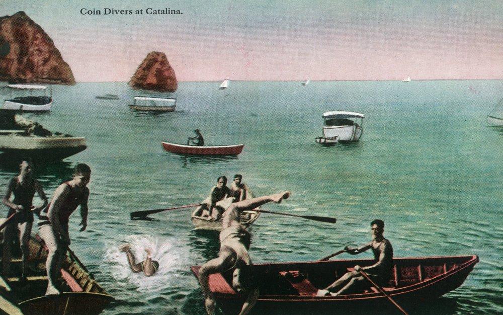 サンタカタリナ島、カリフォルニア – ビューコインの人々のダイビングの 36 x 54 Giclee Print LANT-34591-36x54   B01M4MN1E7