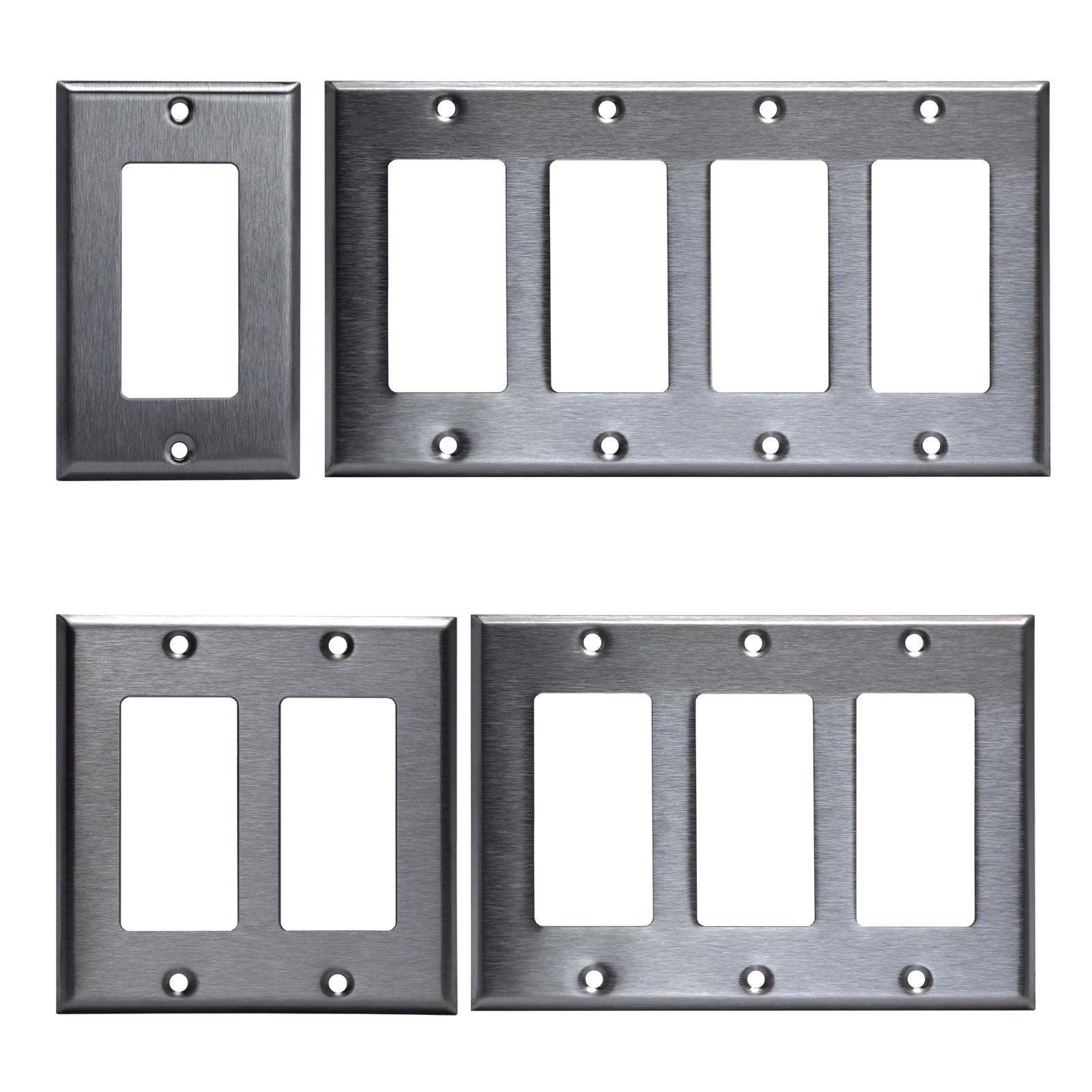 Brushed Stainless Steel Outlet Cover Rocker Switch Wall Plates Decorator Metal (4 Gang)