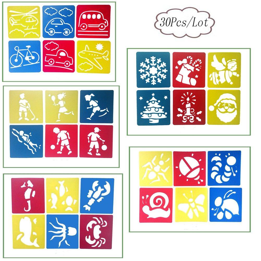 aipark –  Set di 30pcs Stencil di disegno bambini, strumenti modelli di pittura