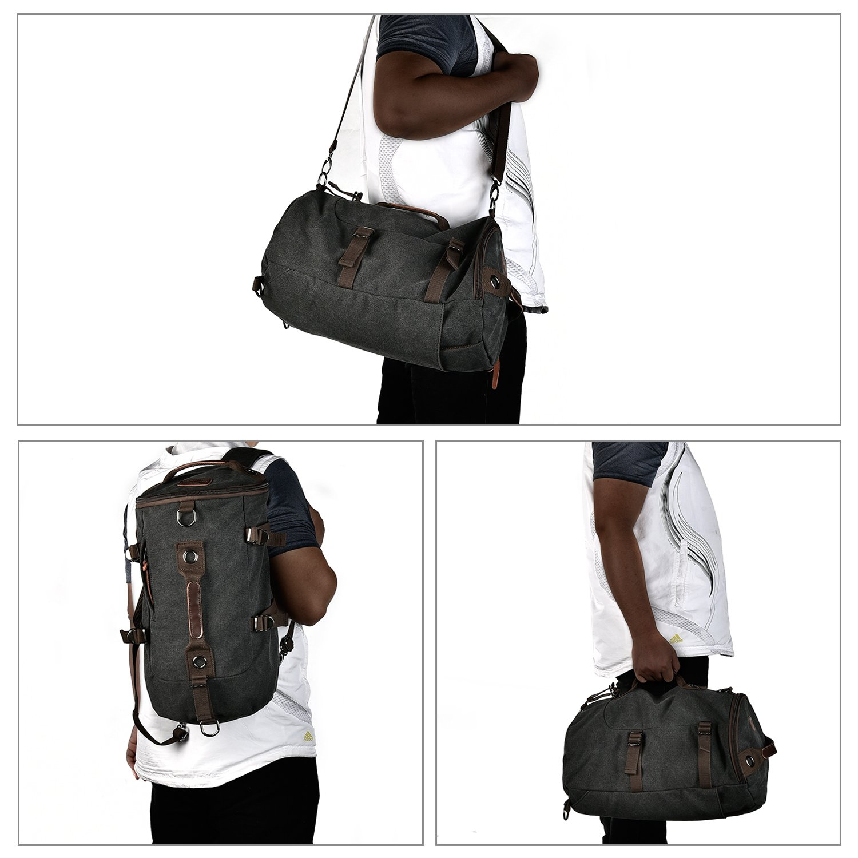 c79e1784ef LUXUR Retro Duffel Cylinder Bag 26L Canvas Travel Backpack for Men Hiking  Luggage Weekend Bag  Amazon.com.au  Sports