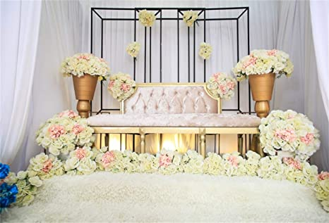 Amazoncom Laeacco Indoor Graceful Floral Wedding Photo