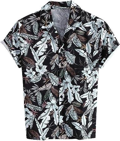 CAOQAO Camisa Hombre Hawaiana Verno Manga Corta Fashion Rayas Camiseta 2019: Amazon.es: Ropa y accesorios