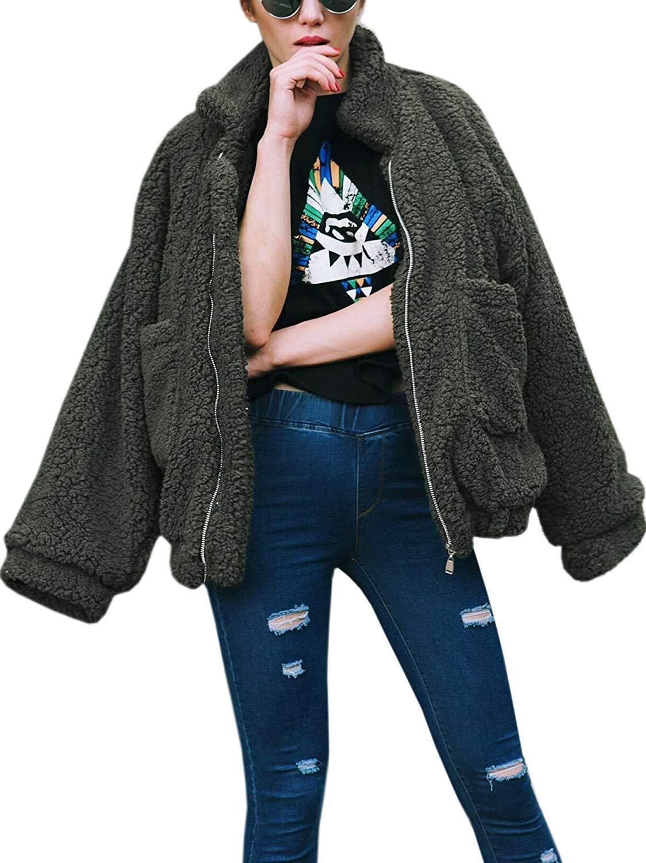 Women's Coat Casual Lapel Fleece Fuzzy Faux Shearling Zipper Coats Warm Winter Oversized Outwear Jackets (Green,S) by Comeon