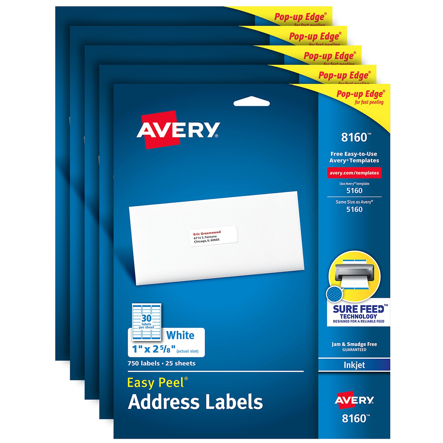 Avery Address Labels with Sure Feed for Inkjet Printers, 1'' x 2-5/8'', 3,750 Labels, Permanent Adhesive (5 Packs 8160)