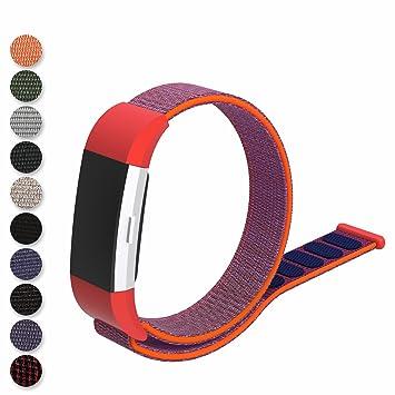 Feskio - Correa de repuesto para reloj inteligente Fitbit Charge 2, correa de nailon tejida, cierre de bucle, color morado: Amazon.es: Deportes y aire libre