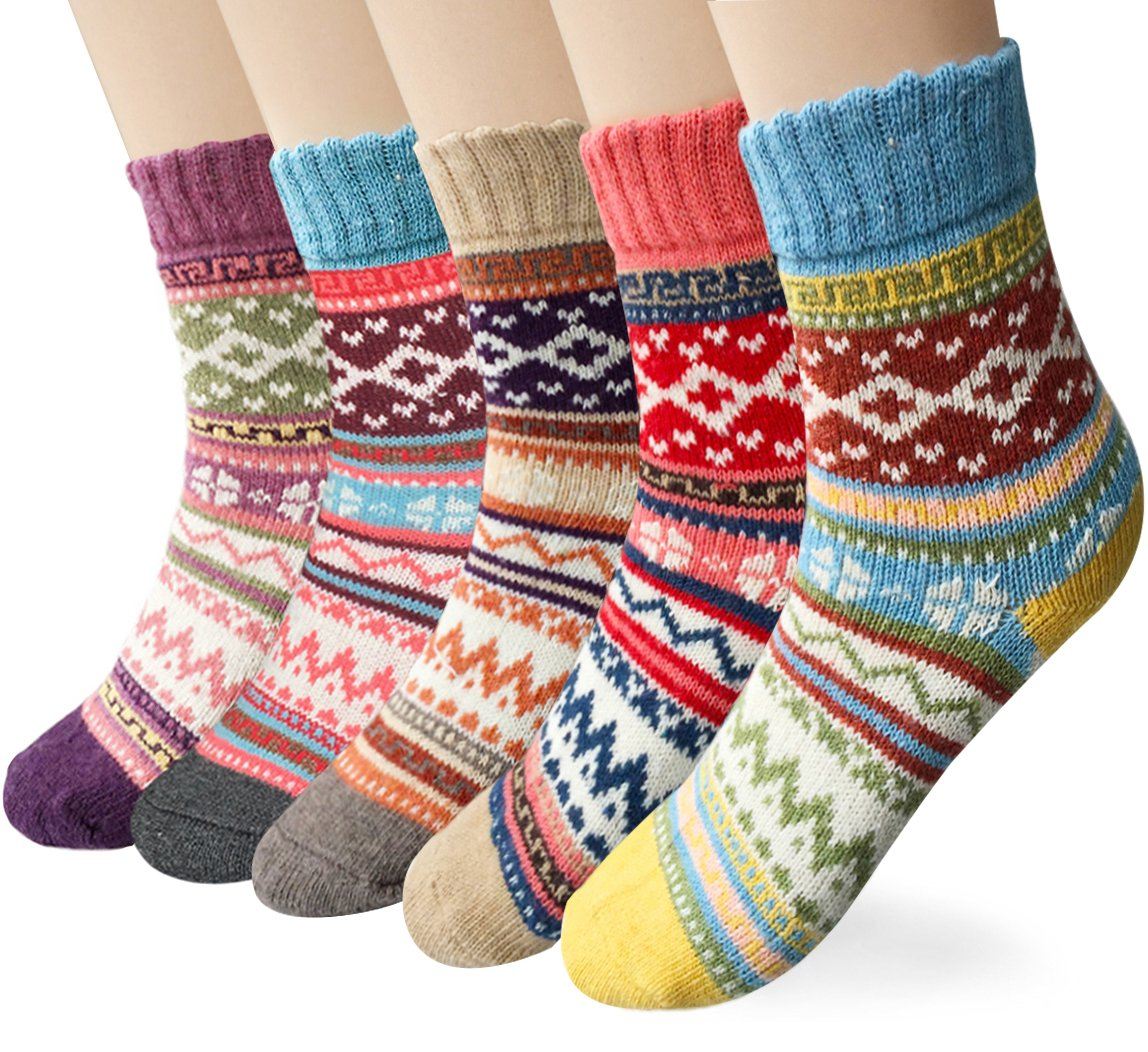 Womens 5 Pairs Winter Warm Vintage Style Thick Knit Wool Cozy Crew Socks Free size Multicolor CLT-020-15
